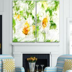 Design Art 'Pair of Flowers' Art Print - 40Wx40H Inches - 2 Panels