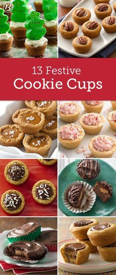 15 Cute Christmas Cookie Cups Looking for something fun, fast and festive to bake up for your next holiday potluck or cookie exchange? These cute Christmas cookie cups are just the ticket! Cute Christmas Cookies, Christmas Cookie Exchange, Christmas Sweets, Christmas Cooking, Christmas Parties, Christmas Time, Christmas Potluck, Christmas Candy, Köstliche Desserts