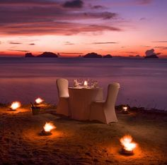 Treat that special someone to a romantic dinner on the beach at Conrad Koh Samui overlooking the Gulf of Thailand and a vibrant sunset. Exotic Beaches, Tropical Beaches, Romantic Pictures, Beach Pictures, Most Romantic Places, Beautiful Places, Beach Dinner, Luxury Car Rental, Gazebo Pergola