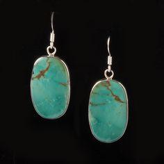 Turquoise Oval Drop Earrings -  Earrings - National Cowboy Museum