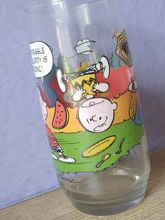 Vintage Charlie Brown Camp Snoopy drinking glass, McDonalds glass, advertising comic cartoon characters, summer camp
