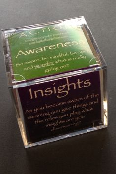 ACTION...Desk top reminder.  Awareness, Conclusions, Theatre, Insight, Ownership, Now. Get yours from Big Fat Happiness.
