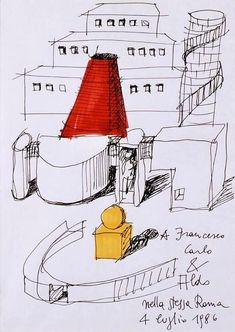 Un'architettura schizzata - Paperblog Architecture Tools, Architecture Drawings, Aldo Rossi, Interior And Exterior, Sketches, Rationalism, Postmodernism, Thesis, Zine