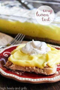 This lemon tart is SO easy to make! #recipe #dessert http://www.highheelsandgrills.com/2013/10/easy-lemon-tart.html