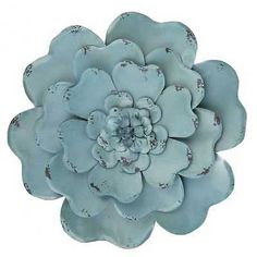Rustic Blue  Flower Metal Wall Decor        Only Two Left!