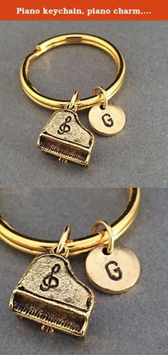 Piano keychain, piano charm, musical instrument keychain, personalized keychain, initial keychain, initial charm, customized, monogram. Piano charm keychain with hand stamped initial *Initial charm is antique gold pewter 9mm *Piano charm is antique gold pewter *Your purchase will arrive packaged in a cute gift box and I will include a message by request.