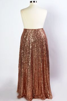 Plus Size Clothing for Women - The Showstopper Sequin Maxi Skirt - Rose Gold…