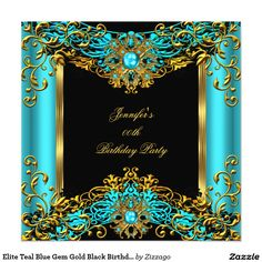 Elite Teal Blue Gem Gold Black Birthday Party 2 5.25x5.25 Square Paper Invitation Card