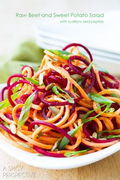 Raw Beet and Sweet Potato Salad with Garlic Lime Vinaigrette from A Spicy Perspective. Just substitute carrots instead of sweet potato for conscious cleanse Raw Food Recipes, Veggie Recipes, Salad Recipes, Vegetarian Recipes, Cooking Recipes, Healthy Recipes, Food Tips, Delicious Recipes, Cooking Tips