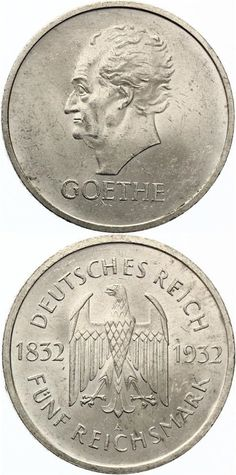 5 Mark Goethe 1932 A AU-UNC .Price: 	2700,00 EUR #coins #currency #money