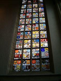 Glas-in-lood raam / Stained-glass window, Oude Kerk, Amsterdam by eszsara, via Flickr