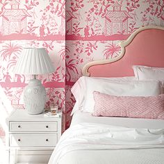 Pink Chinoiserie Bedroom with Pink French Headboard