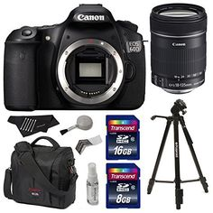 "Canon EOS 60D 18 MP CMOS Digital SLR Camera with 3.0-Inch LCD with EF-S 18-135mm f/3.5-5.6 IS Zoom Lens + Polaroid 72"" Tripod + Canon 800 SR Bag + 24 GB Storage and Accessories"