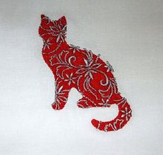 Floral Cat Embroidered Quilt Block