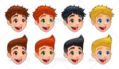 Faces of boys.  #GraphicRiver         Faces of boys. Different types of hairstyles and colors. Vector isolated characters.  	 Folder contains:  	 EPS file; High Resolution JPG file; High Resolution PSD file with every character in a single, isolated layer; High Resolution PNG isolated files with every character in a single, isolated file.     Created: 18February13 GraphicsFilesIncluded: PhotoshopPSD #TransparentPNG #JPGImage #VectorEPS Layered: Yes MinimumAdobeCSVersion: CS Tags: boy…