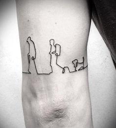 tatuaje de una sola línea de mochileros