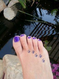 paw print tattoo foot - Google Search