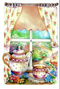 Enjoy your visit. Lets chat pin & share a pot of tea ♥ Donna ♥ Tee Kunst, Decoupage Vintage, Tea Art, Country Art, Art Themes, Kitchen Art, Painting On Wood, Tea Time, Coloring Pages