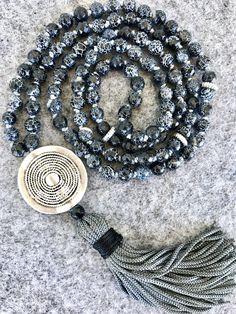 Black mala necklace black agate mala necklace tassel necklace yoga mala meditation necklace karma pendant mala necklace 108 beads by Katiaicrafts on Etsy
