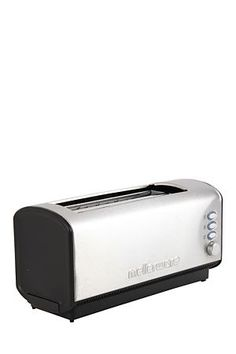 "Stainless steel toaster with brushed finish, with a 4 slice capacity.<div class=""pdpDescContent""><ul><li> LED back lit buttons</li><li> Cancel, re heat, defrost setting</li><li> Removable crumb tray</li><li> Variable browning control</li><li> 2 year guarantee</li></ul></div><div class=""pdpDescContent""></div>"
