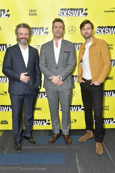 Actors Michael Sheen Jon Hamm and David Tennant attend the Good Omens The Nice and Accurate SXSW Event during the 2019 SXSW Conference and Festivals. Michael Sheen, David Tennant, Neil Gaiman, Amazon Prime Original Series, John Simm, Danielle Brooks, Dame Helen, Good Omens Book, Solo Photo