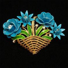 Basket of Flowers Brooch Pin Trifari Rhinestones Enamel Bright Blooms