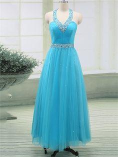 Elegant Halter Sweetheart Blue Tulle A-Line Cheap Long Prom Dress