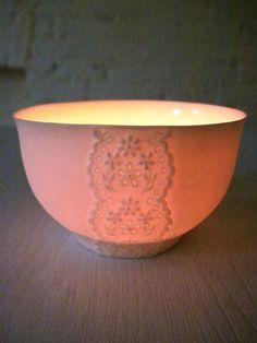 Paper Thin Porcelain Lace Bowl by Hideminy