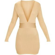 Gold Ribbed Long Sleeve Plunge Bodycon Dress ($38) ❤ liked on Polyvore featuring dresses, ribbed bodycon dress, yellow gold dress, long sleeve plunge dress, beige gold dress and ribbed dress
