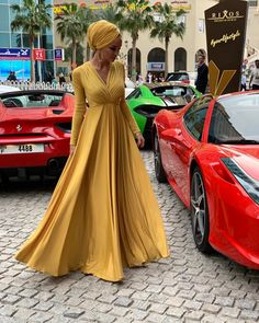 Image may contain: 1 person, car Modesty Fashion, Hijab Fashion, Fashion Outfits, The Dress, Dress Skirt, Dress Shoes, Shoes Heels, Mode Turban, Yellow Dress Summer