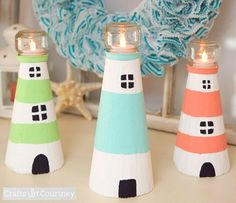 How to Make a Beachy Foam Cone Lighthouse: http://www.completely-coastal.com/2016/05/diy-lighthouses-how-to-make-lighthouse-cardboard-plastic-bottle-etc.html