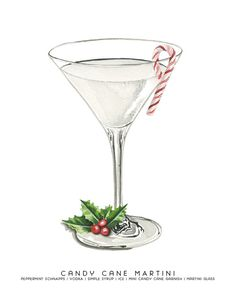 2 oz Peppermint Schnapps 4 oz Vodka 4 oz Simple Syrup Ice Mini Candy Canes Add peppermint schnapps, vodka, simple syrup and ice into a cocktail sh. Martini, Christmas Cocktails, Festive Cocktails, Mini Candy Canes, Cocktail Illustration, Vodka, Weird Food, Schnapps, Food Drawing