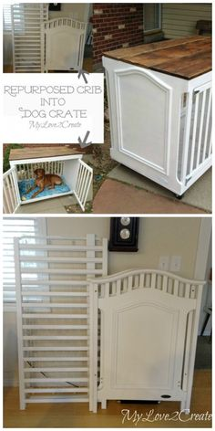 DIY wooden dog crate with plans and instructions!DIY wooden dog crate with plans and instructions! Try it simple DIY dog beds and crates to pamper your puppy Diy Dog Crate, Dog Crate Table, Dog Crate Cover, Wood Dog Crate, Crate Bench, Dog Crate Beds, Crate Nightstand, Old Cribs, Dog Crate Furniture
