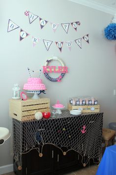 Pink and Navy Nautical First Birthday