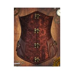 Steampunk Underbust Corset Steampunk Clothes Steampunk Fashion Under... (115 CAD) ❤ liked on Polyvore featuring intimates, shapewear, brown, corsets, lingerie and women's clothing