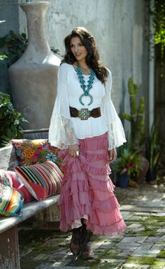 Love the shirt. White Long Sleeve Blouse and Pink Long Ruffle Skirt - Western Chic Fashion by Marrika Nakk Cowgirl Chic, Western Chic, Cowgirl Mode, Cowgirl Style, Texas Western, Cowgirl Tuff, Cowgirl Fashion, Country Fashion, Country Outfits