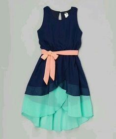 This Zunie & Pinky Navy & Jade Belted Hi-Low Dress - Girls by Zunie & Pinky is perfect! Frocks For Girls, Kids Frocks, Little Girl Dresses, Girls Dresses, Summer Dresses, School Dresses, Hi Low Dresses, Cute Dresses, Beautiful Dresses
