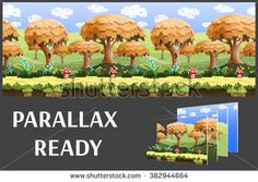 Illustration of a nature landscape ,with pixel trees and green hills, vector unending background with separated layers for game.