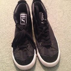Puma high tops. Size 8 1/2. Great high tops in parachute type material made by Puma. Black in color. Barely worn. Puma Shoes