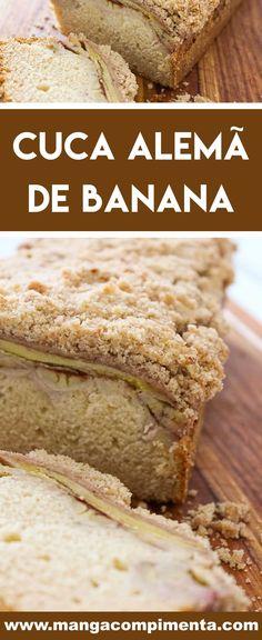 Receita de Cuca Alemã de Banana Típica do Sul - prepare para o café da manhã ou para o lanche da tarde. #receitas