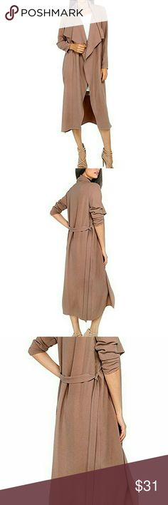 Very pretty Casual Long Sleeve Coat/sweater A light coffee color which tanned or olive skin color tones  might like as opposed to the dusty pink color. Light skined might feel it looks more dusty pink colored when on.  The Collar is a nice waterfall style Have 1 of each size avail. Ordered these to try on in person for my niece and 2 friends all of diff sizes and they went with a sweater they found locally instead   Last pic is of the same item on at a party Sweaters