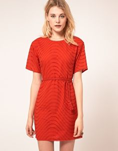 French Connection Shift Dress with Embroidered Spot