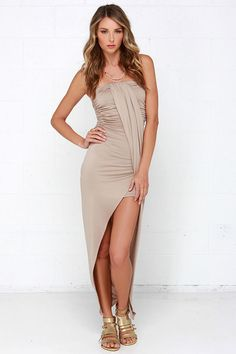 Fools Ruche In Beige Strapless Dress at Lulus.com!