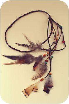 Haarbänder - Ethno Haarband oder Kette mit Federn - ein Designerstück von two-little-birds bei DaWanda