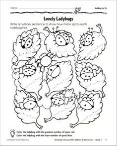 Adding to Ten-Ladybugs: Math Practice Page