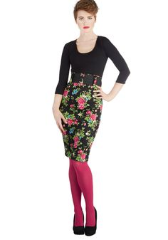 Cool Vibes Skirt in Floral, #ModCloth (I'd never wear the hot pink tights, but black ones - yes!)