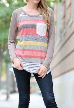 Mocha Sleeves Stripe Lace Pocket