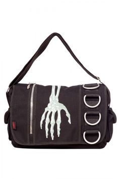 dda9e3e649d04 GOTHIC Messenger Shoulder BAG Skeleton Creepy Hand JAWBREAKER Alternative