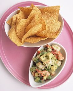 Avocado-shrimp ceviche is irresistible with chips.