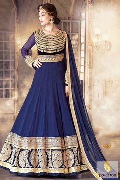 Add the soberness in your style by draping a cobalt blue color best anarkali dress for reception. This latest fashion wedding anarkali suit available with discount price. #deisgneranarkalisalwarsuit #weddingspecialanarkalisalwarsuit #anarkalisuitforwedding More: http://www.pavitraa.in/catalogs/full-sleeve-embroidered-anarkali-dresses/?utm_source=hp&utm_medium=pinterestpost&utm_campaign=15july